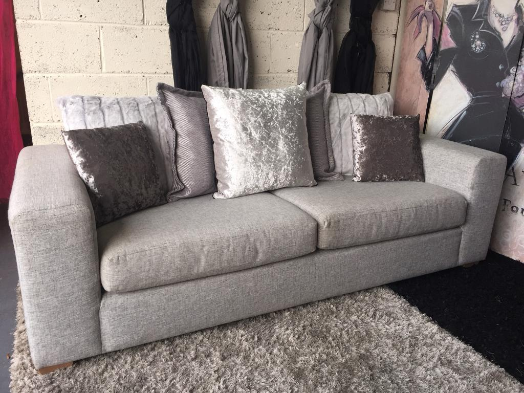 New Marks And Spencer Blake 3 Seater Sofa In Texture Weave Stone With  Scatter Back Cushions