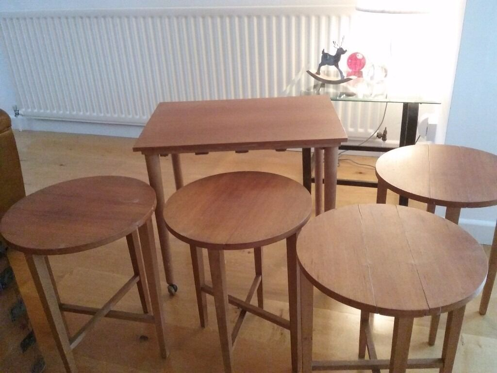 Nest Of 4 Vintage Folding Tables With Trolley Table Poul Hundevad Design