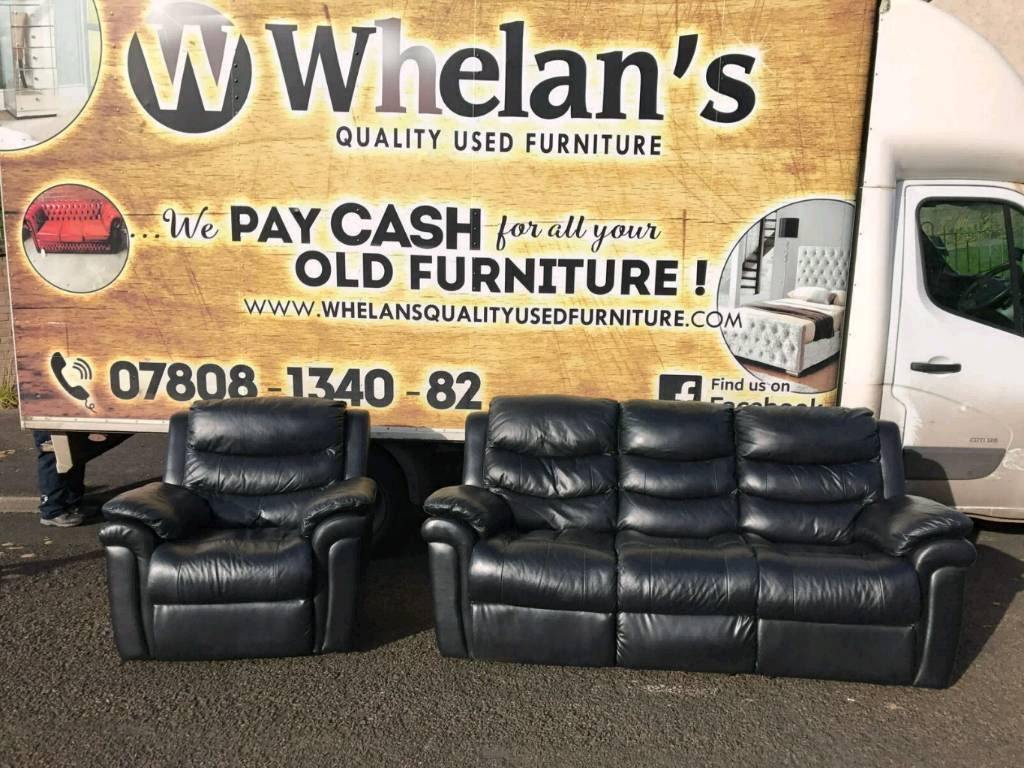 3 And A 1 Seater Sofa In Black Leather All RECLINING £299