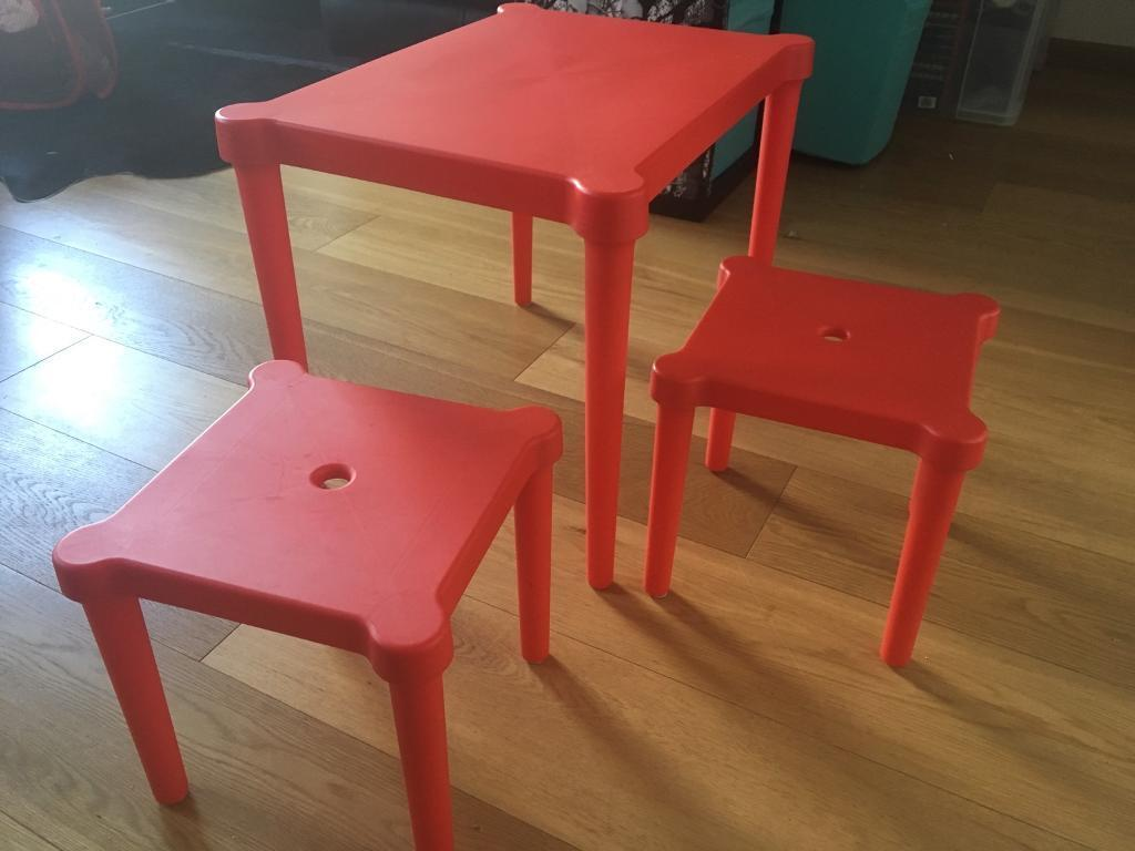 IKEA Utter Kids Table + 2 Stools, Red