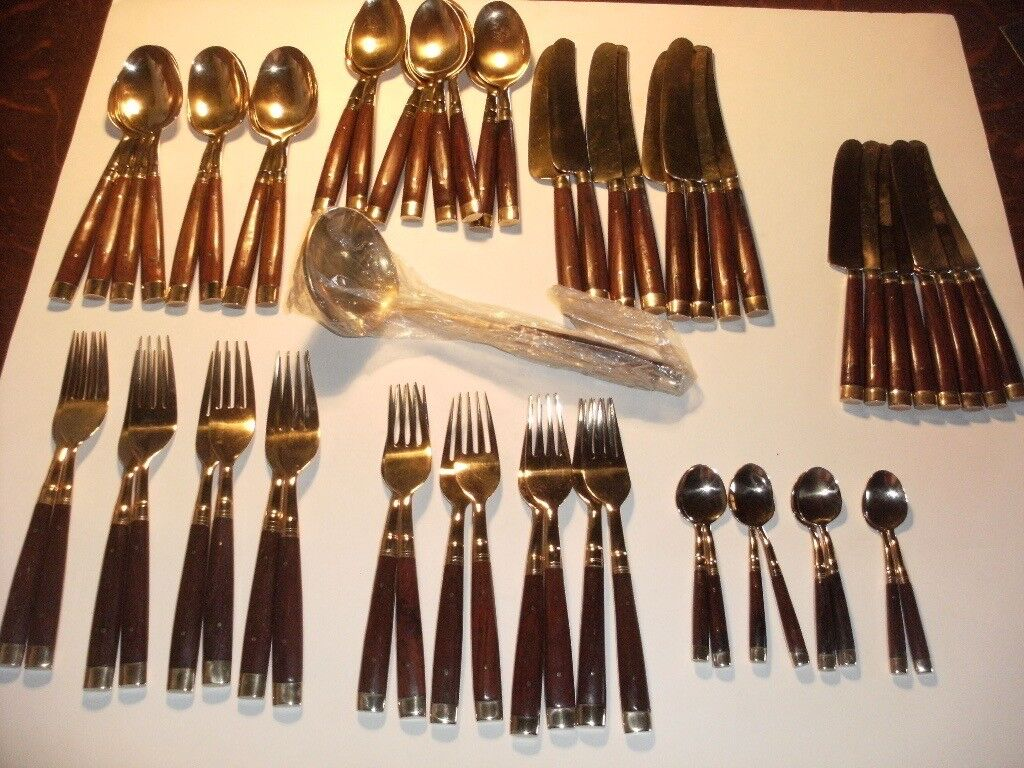 Bronze Cutlery with Rosewood Handles 8 piece place setting plus ladle & Bronze Cutlery with Rosewood Handles 8 piece place setting plus ...