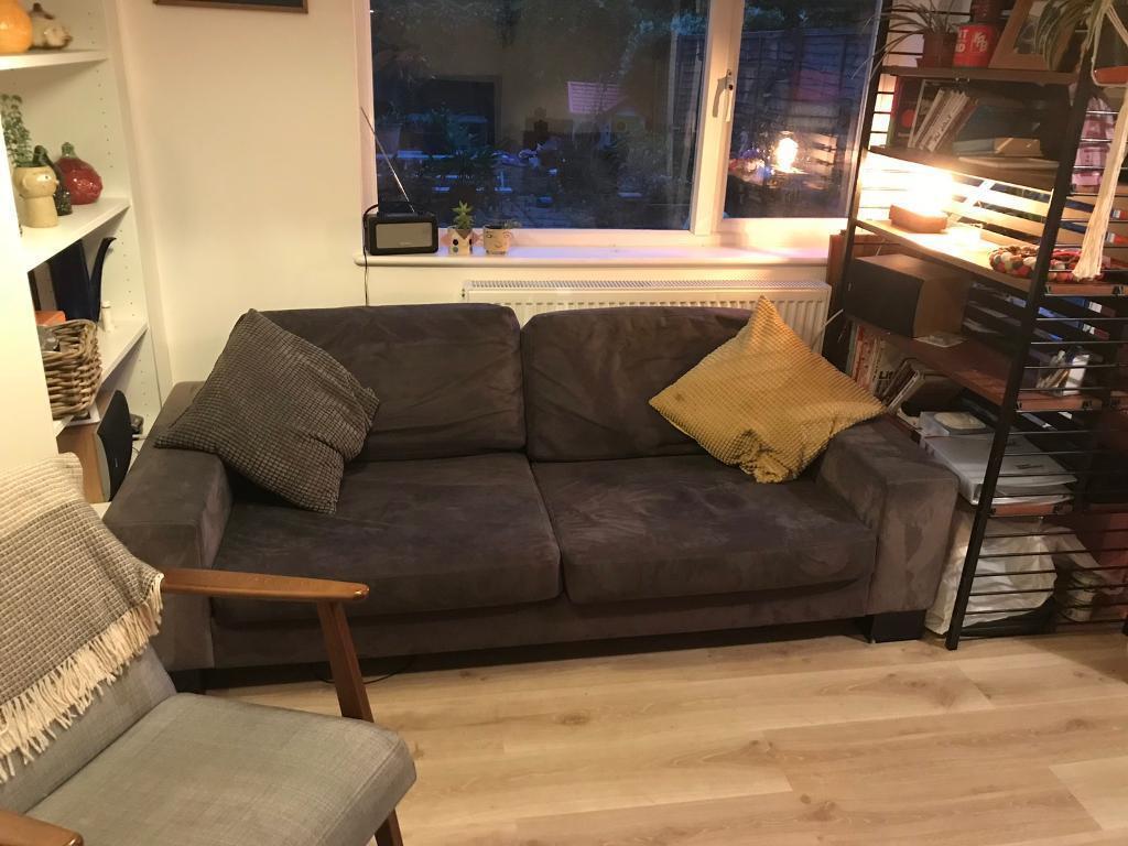 Bo Concept 2 3 Seat Sofa. Blue / Grey Moleskin