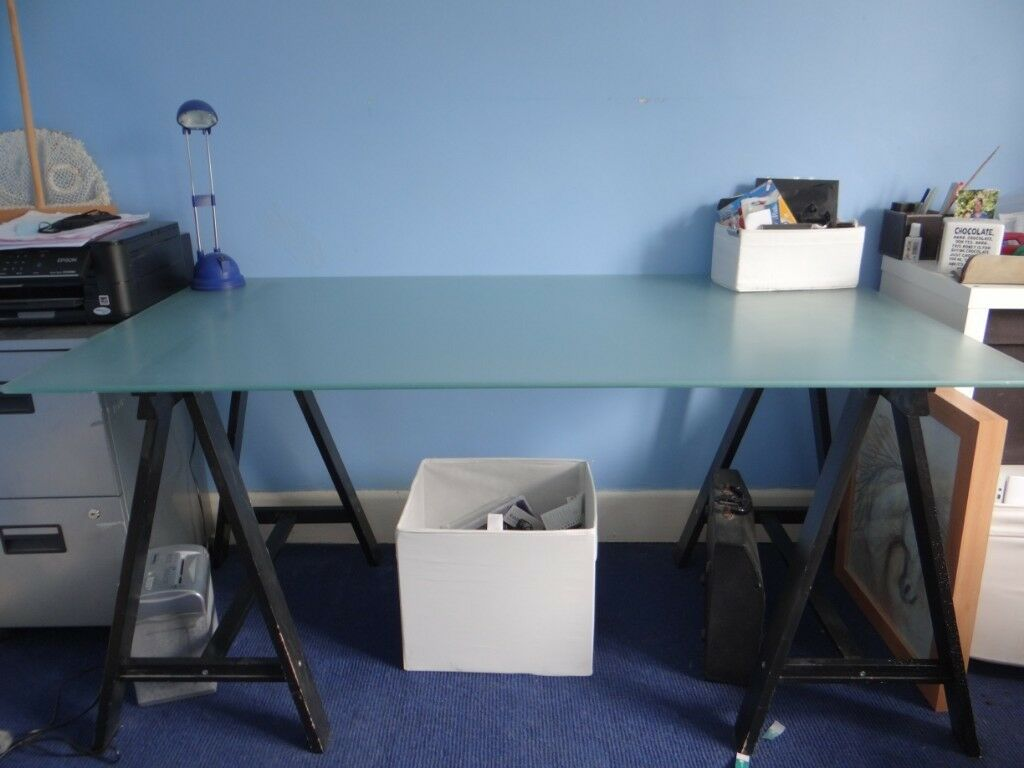 Lovely Frosted Glass Desk   Ikea