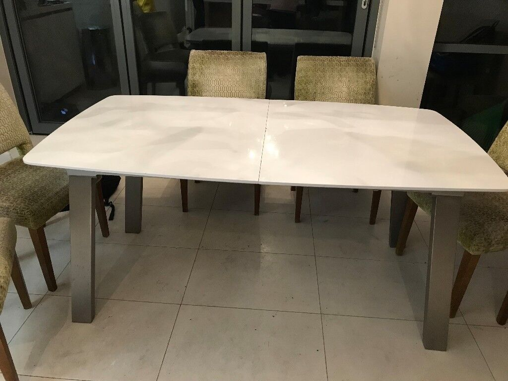 ASSI WHITE GLOSS EXTENDABLE DINING TABLE FROM DANETTI