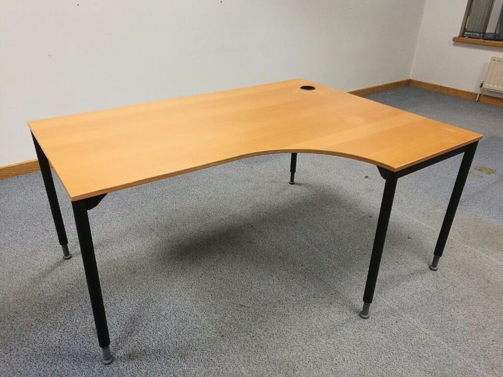 Ikea Galant Right Hand Curved Office Desk Table With Adjustable Legs/Feet    Bargain £