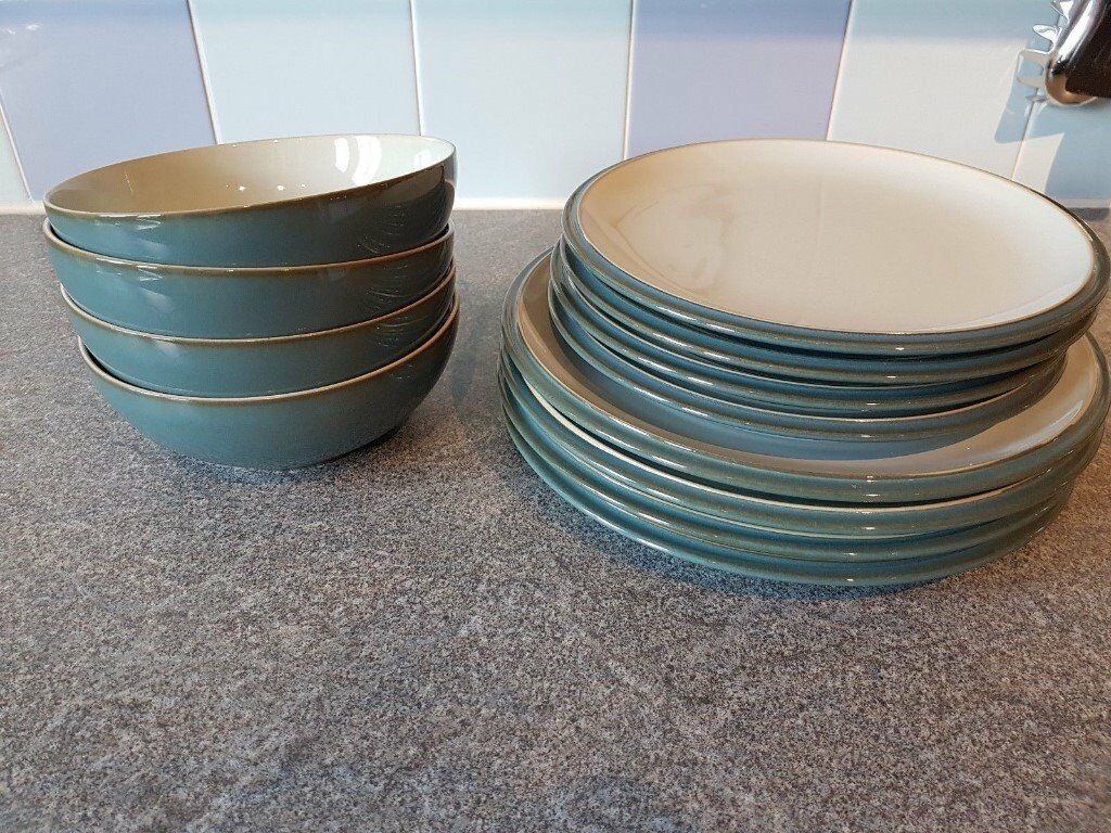 Denby Everyday Teal 12 Piece Set - 4 Dinner Plates 4 Desert/ Salad . & Marvelous Denby Everyday Teal Ideas - Best Image Engine - tagranks.com