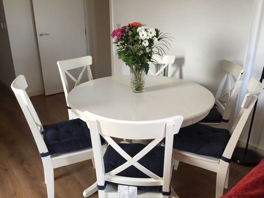 Beautiful IKEA INGATORP White Extendable Dining Table With 4 Chairs Along  With Cushions   Almost New