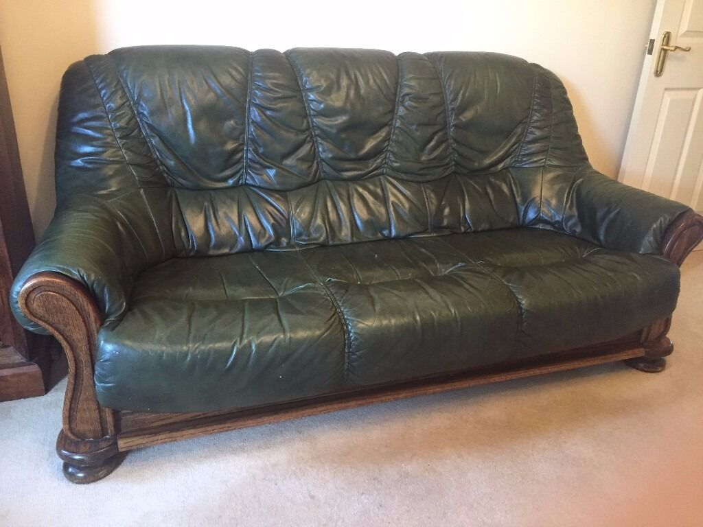 Superbe Balmoral Green Leather Sofas (3 Seater + 2 Armchairs) With Oak Frames