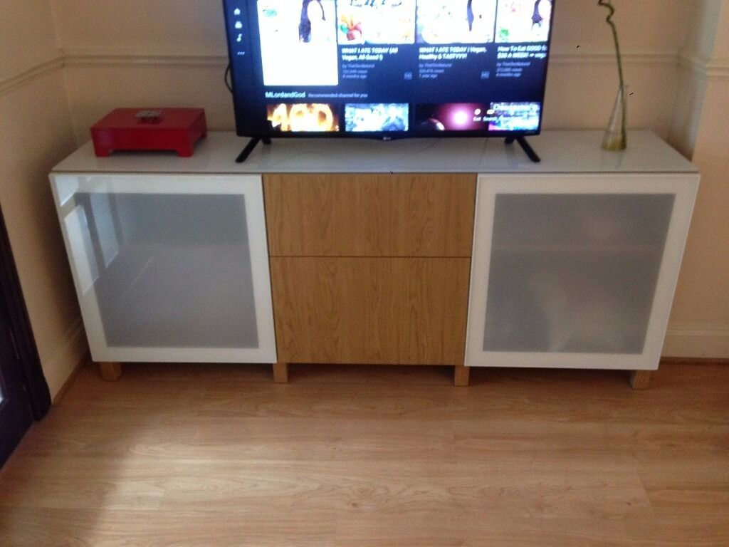 Ikea Besta Customised Oak Tv Stand Storage Combination With Drawers And  White Frosted Glass Doors
