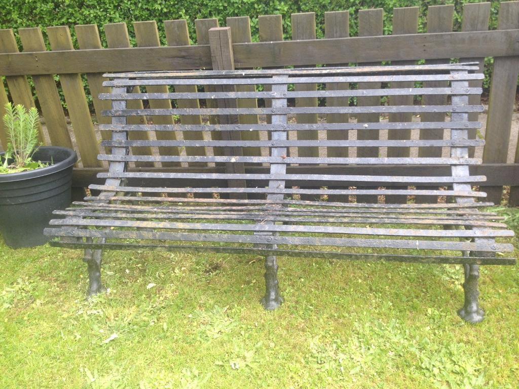Victorian Black Strap Metal Garden Bench
