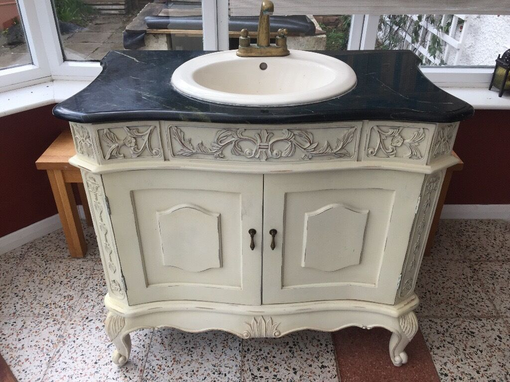 REDUCED: Classic French Sink And Vanity Unit With Marble Top.