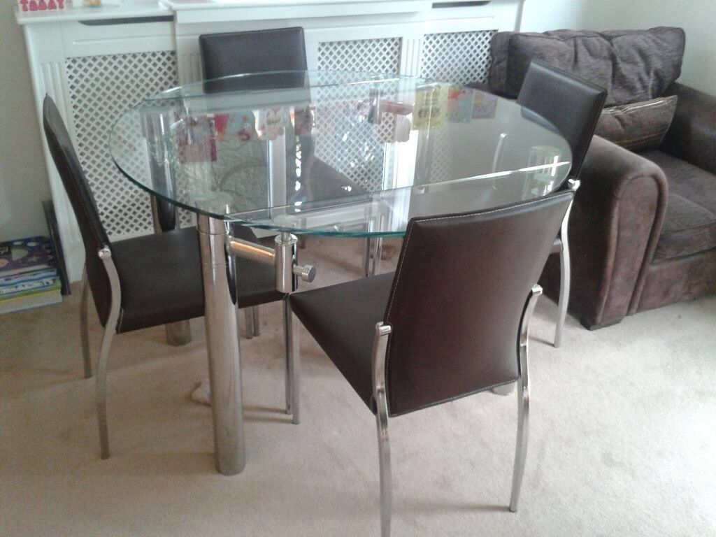 Extendable Glass Dining Table + 4 Brown Dining Chairs From Cargo