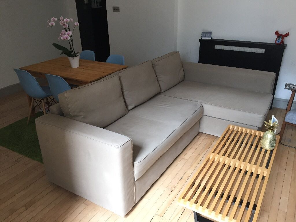 Corner Sofa Bed With Chaise Long And Storage   Ikea Manstad   Beige Color    Very