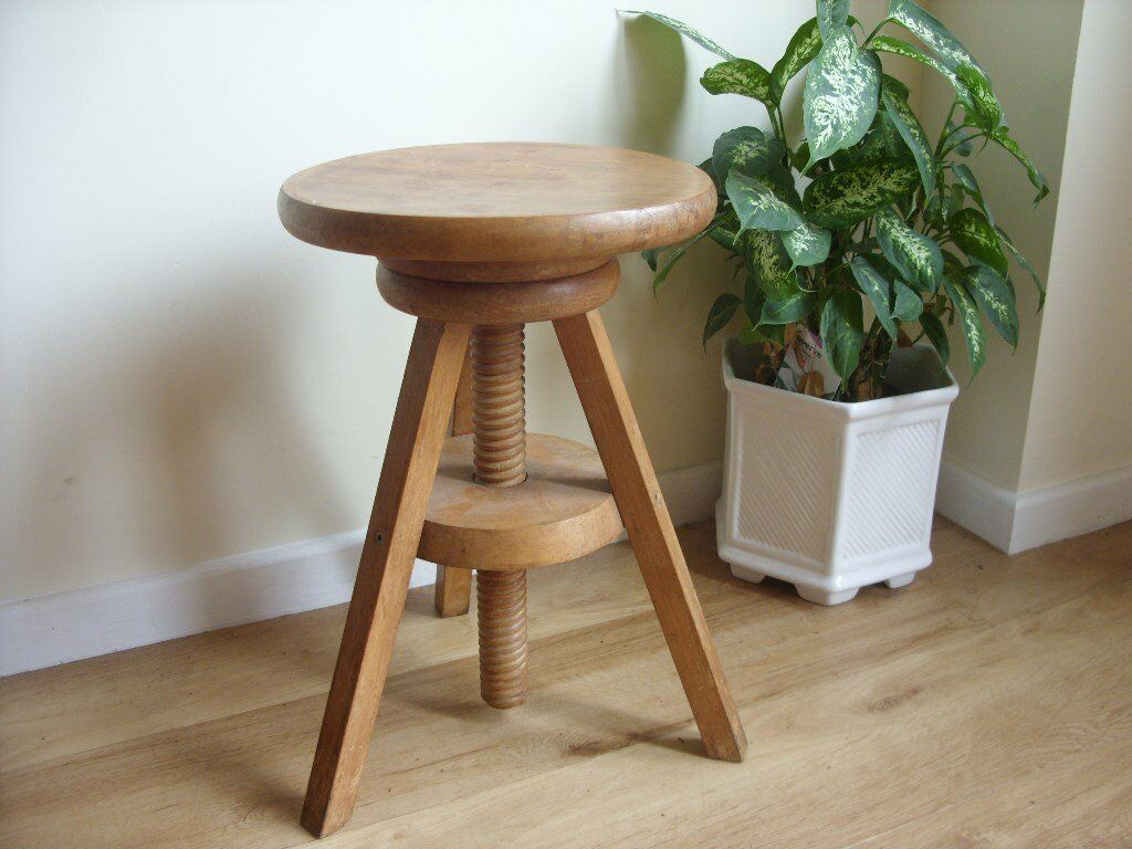 Milking Bench Part - 38: SOLID WOOD MILKING STOOL - ADJUSTABLE RISING SEAT