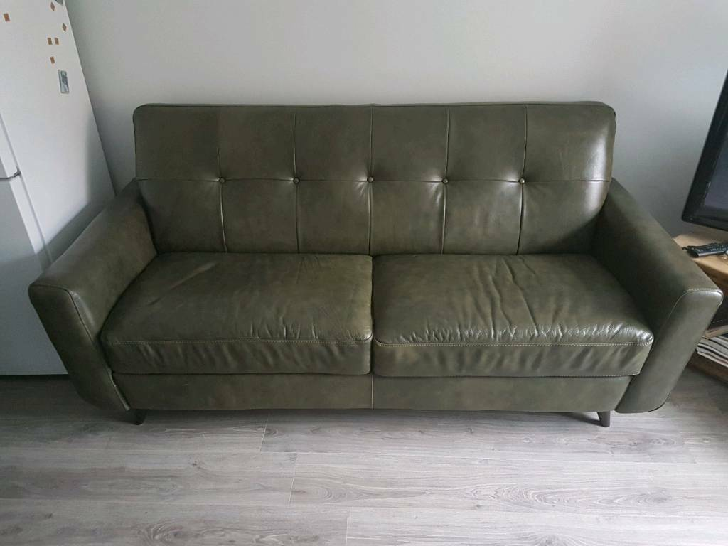 Retro Style Leather Sofa And Chair