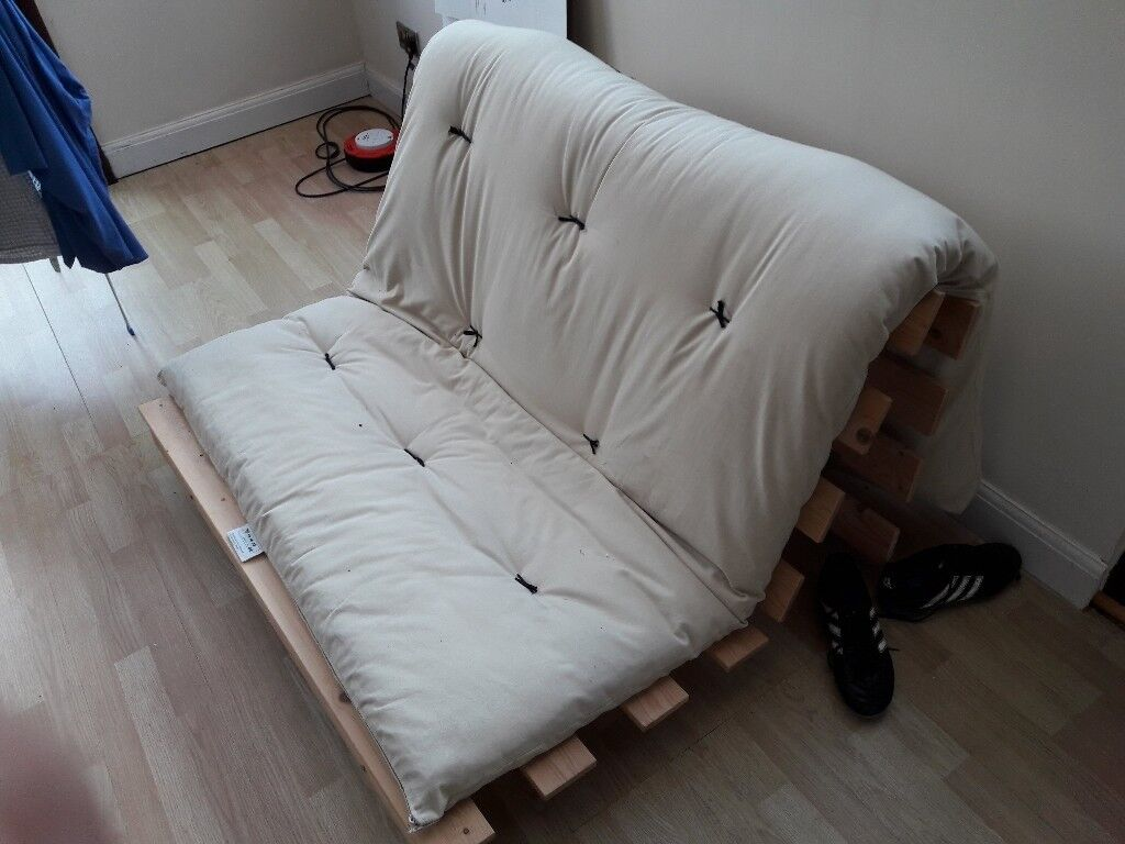 cream futon with wooden frame  cream futon with wooden frame    in sheffield south yorkshire      rh   gumtree