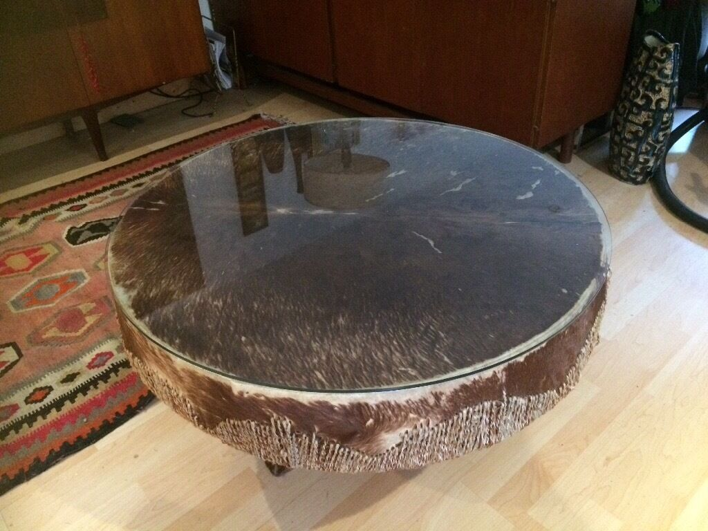Awesome STUNNING VINTAGE AFRICAN DRUM COFFEE TABLE.