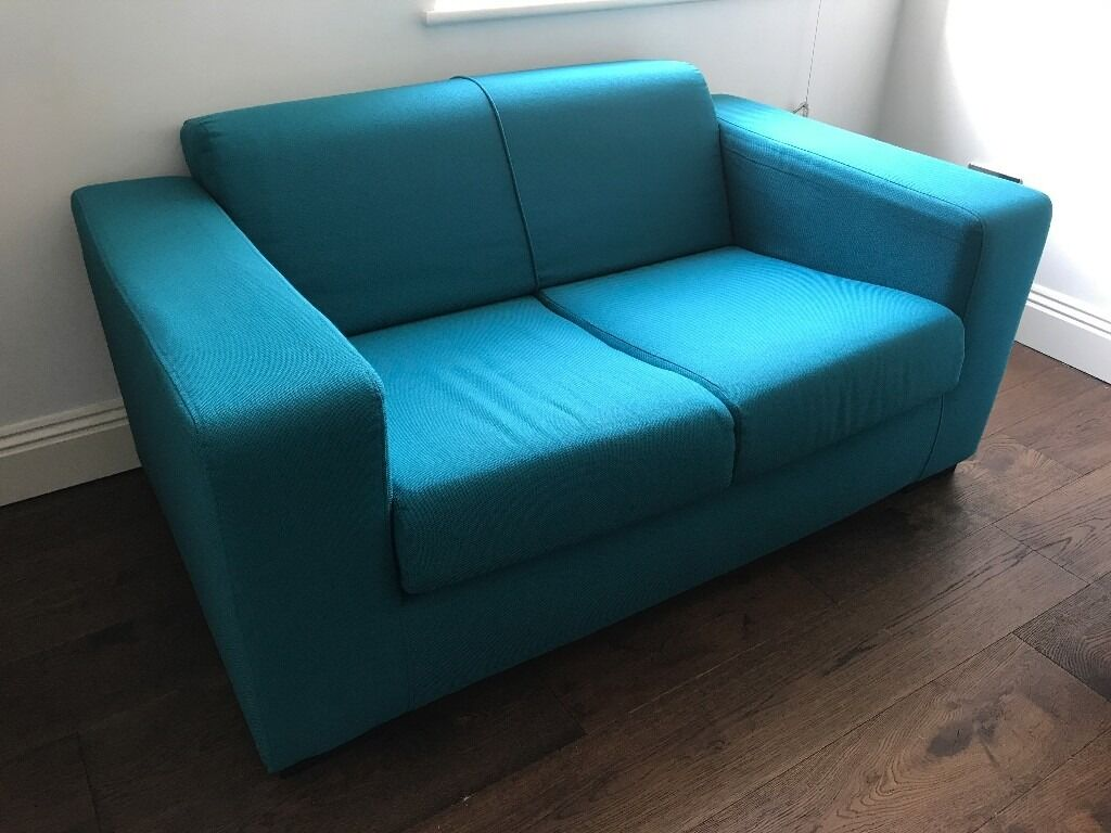 Hygena New Ava Compact 2 Seater Fabric Sofa   Teal