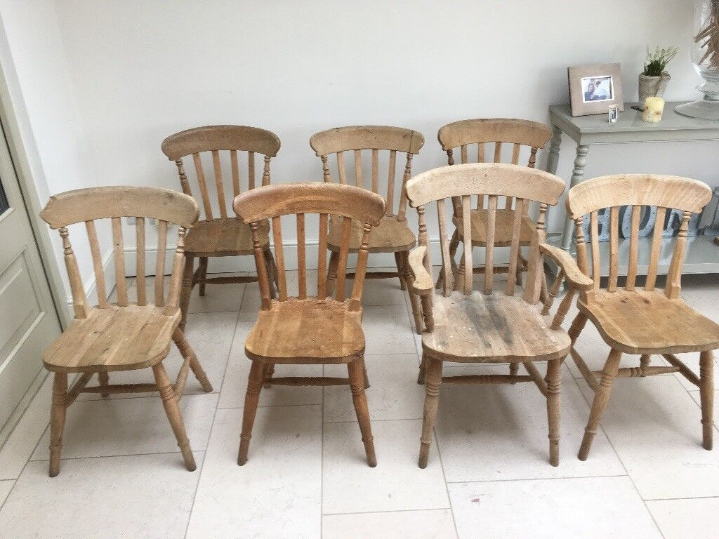 6 Solid Wood Spindle Back Farmhouse Country Kitchen Dining Chairs Plus 1  Matching Carver Chair
