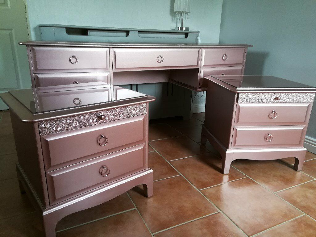 Rose Gold Metallic Stag Dressing Table And Matching Bedside Tables Can  Deliver