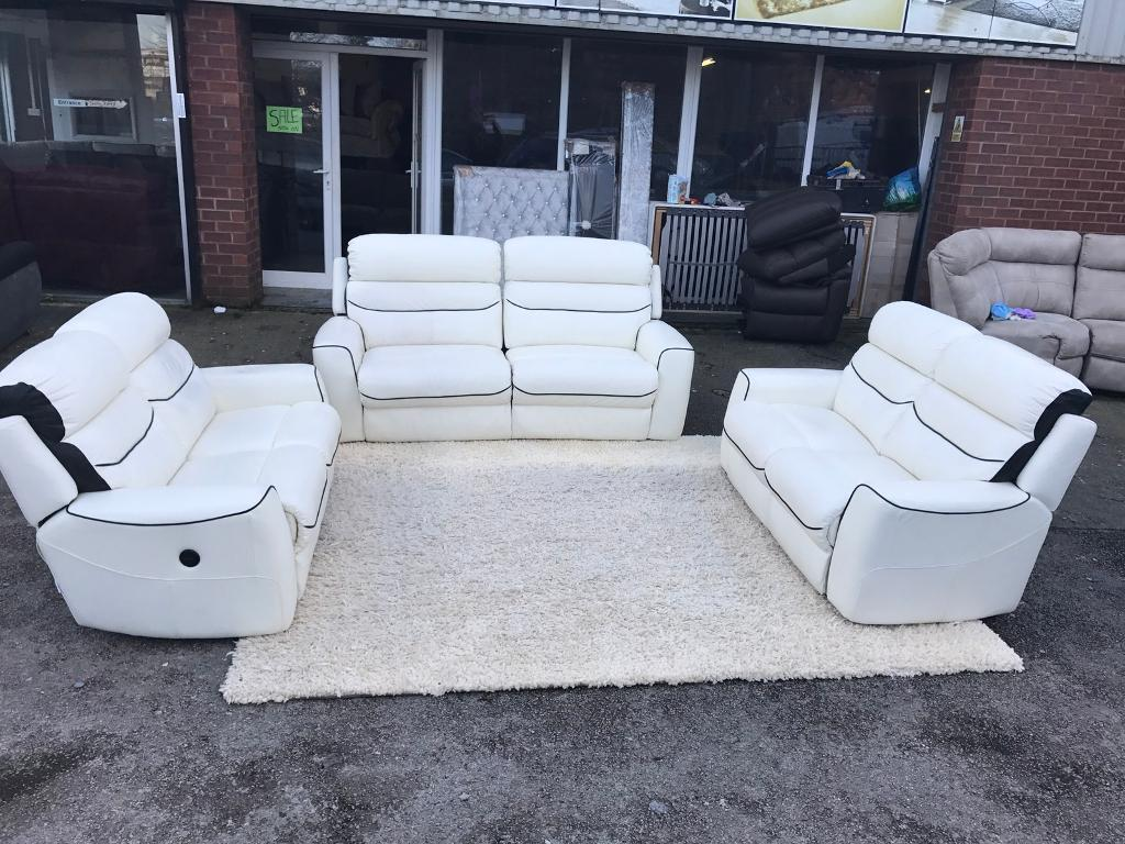 La-Z-Boy Missouri white leather electric power Recliner 3+2+2 : white lazy boy recliner - islam-shia.org