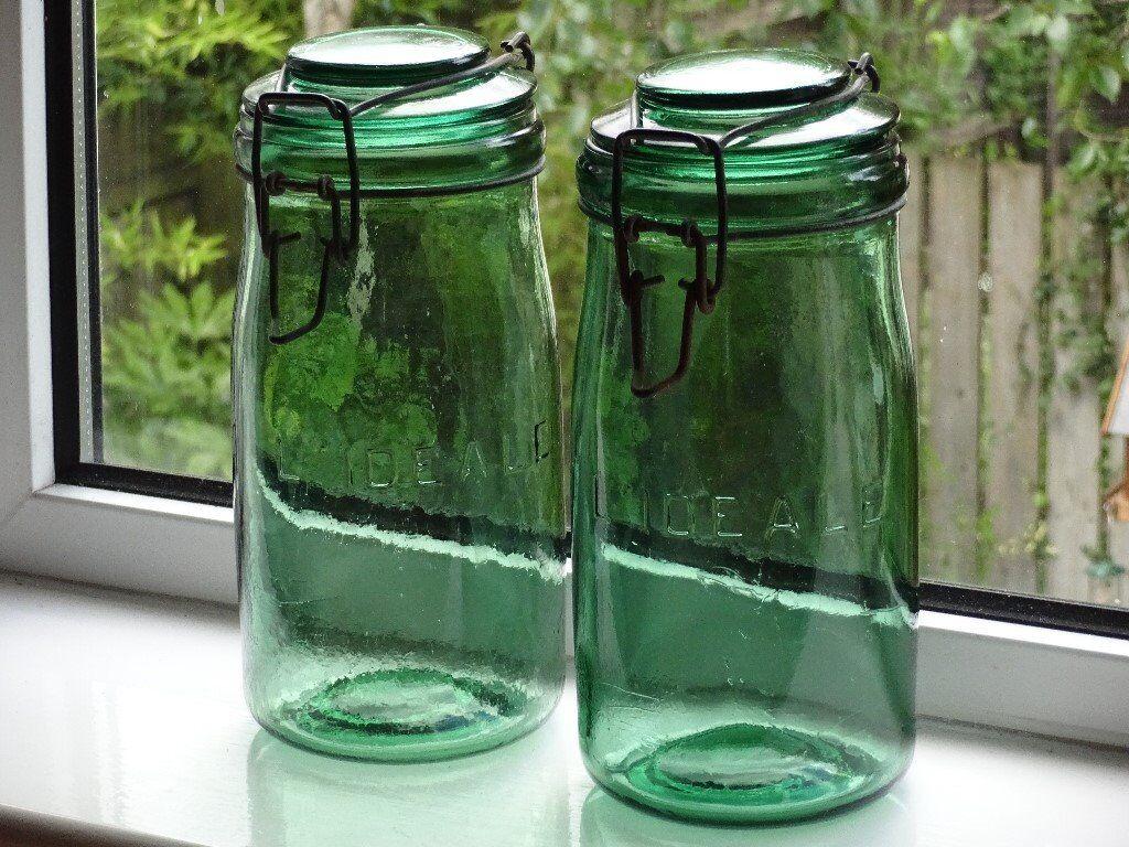 Vintage Original 1930u0027s/40s Lu0027IDEALE 1 Litre Green Glass Storage Jar With  Clip