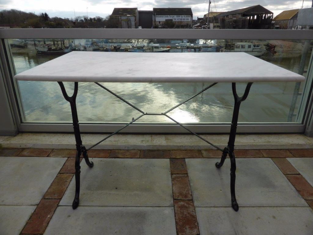 Marble Top Table. French Kitchen Bistro Dining Outdoor Patio. Cast Iron  Trestle.