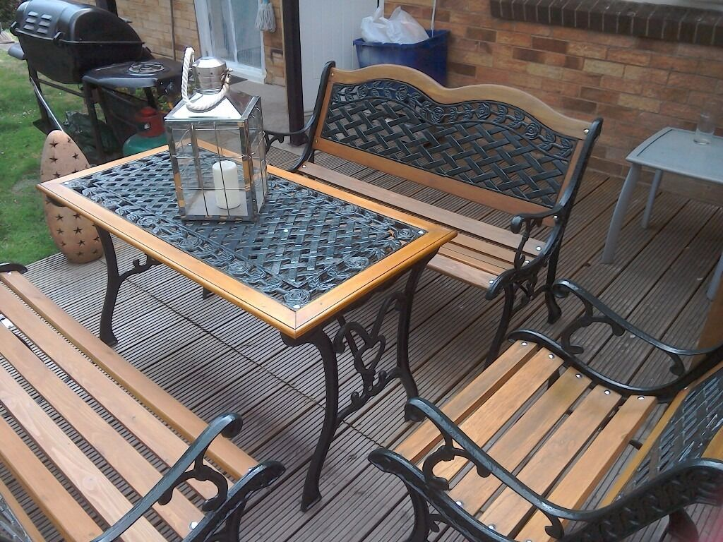 Ornate Cast Iron Garden Furniture Set 2 Benches 1 Chair And Table