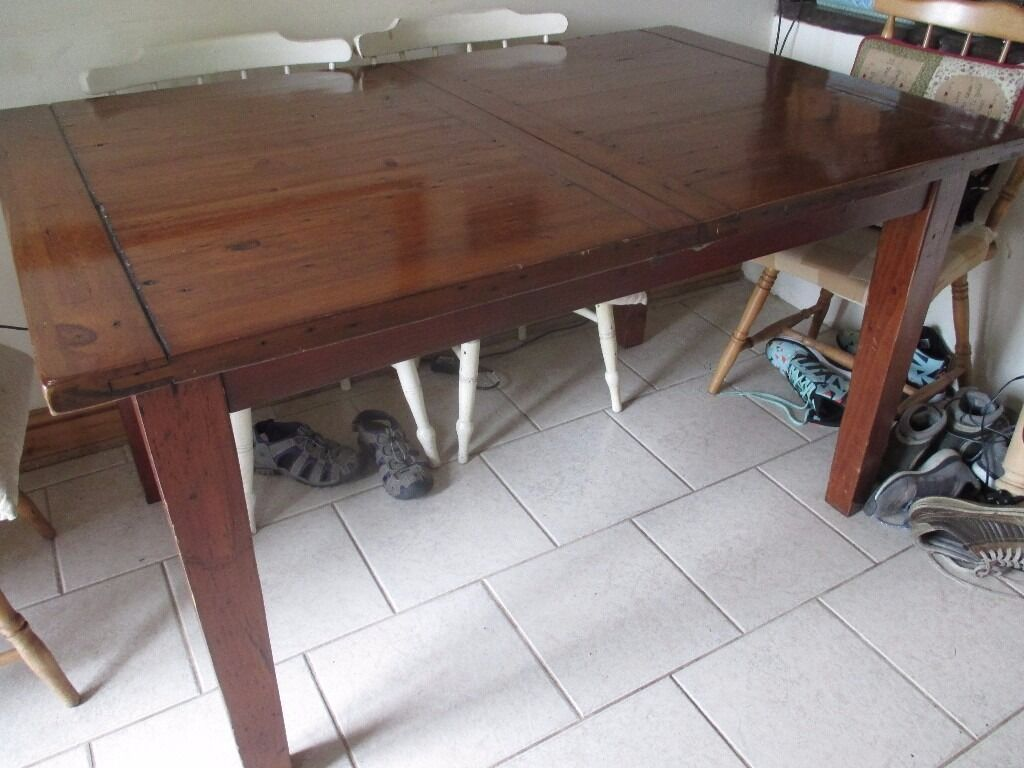 Solid Heavy Irish Coast Collection Reclaimed Pine Wood Extending Dining  Table Part 20