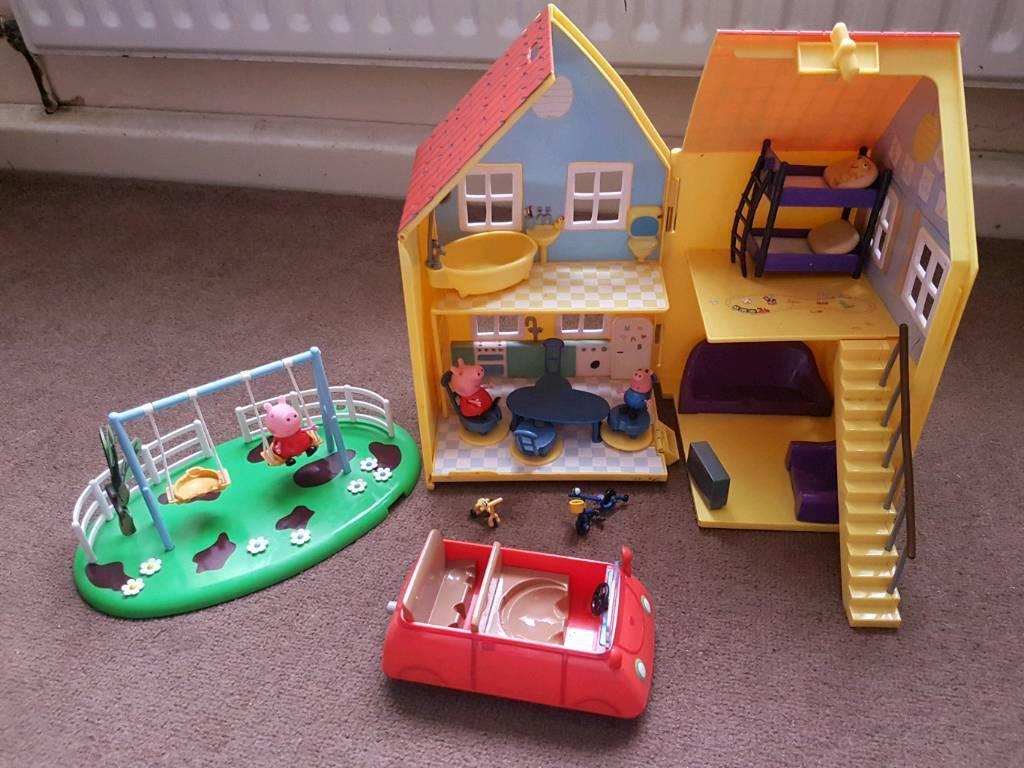 Peppa Pig House, Car And Swing Set