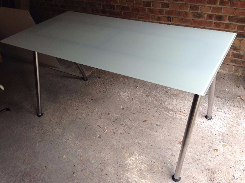 Ikea Galant Height Adjustable Glass Desk With Chrome Legs