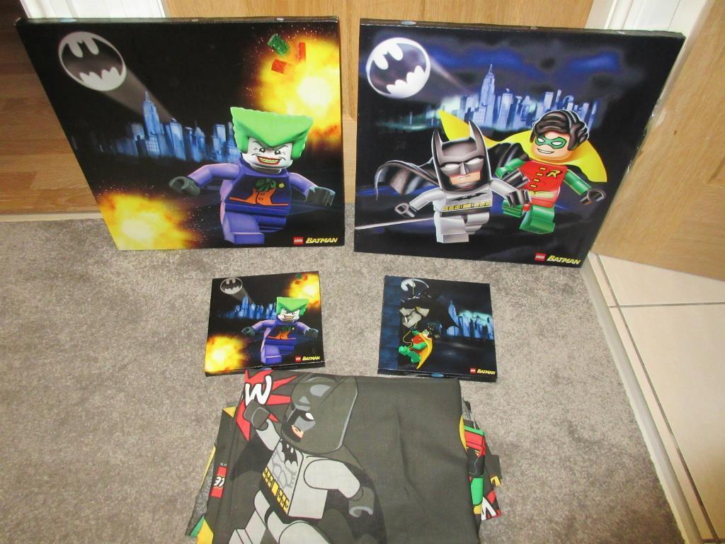 Lego Batman Bedroom Bundle Mint Condition,curtains,rug,pics U0026quilt Cover