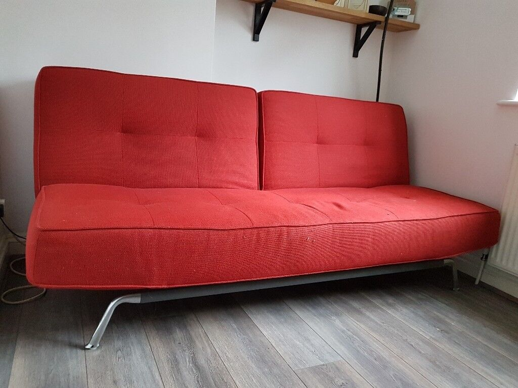 Red Futon / Sofa Bed. Double. Perfect Condition. Very Comfortable. Delivery  Available