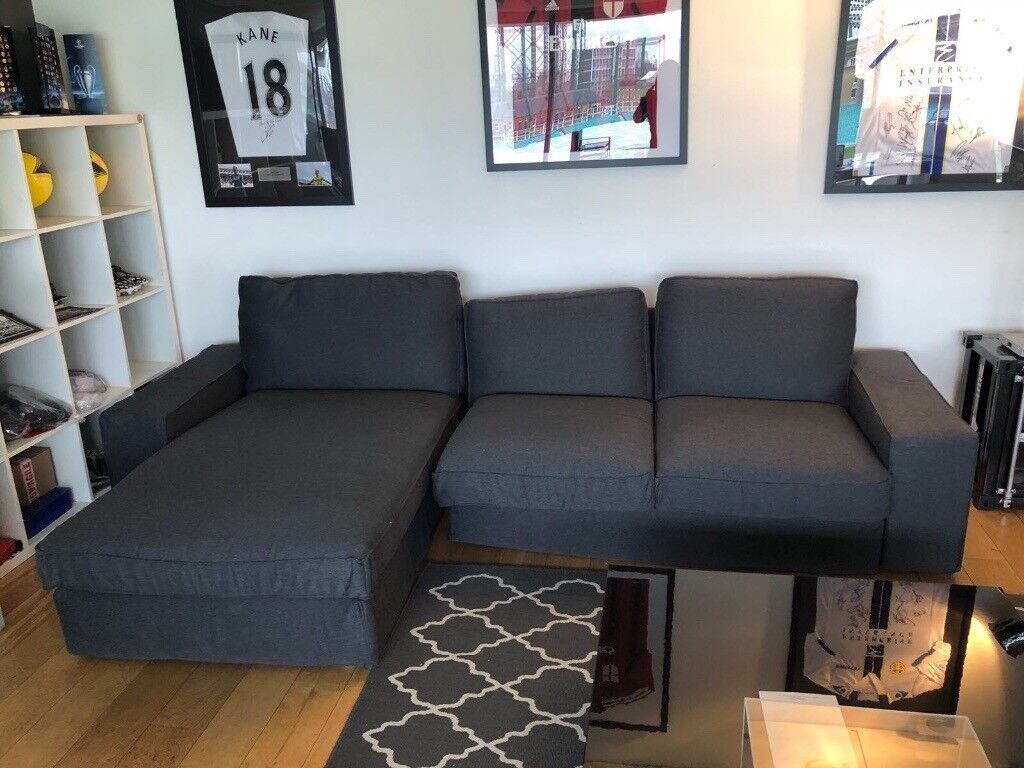 IKEA 3 Seat L Shaped Sofa Kivik With Chaise Longue/ Hillared Anthracite