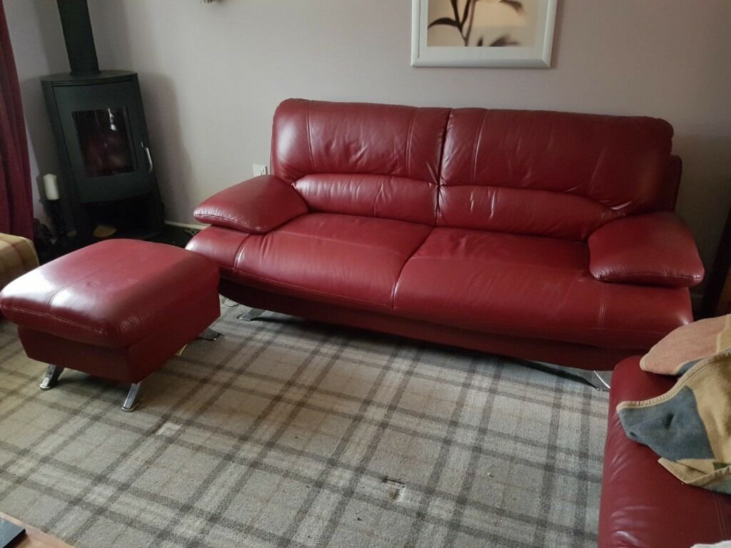 Harveys Samara Red Leather Sofa And Storage Footstool
