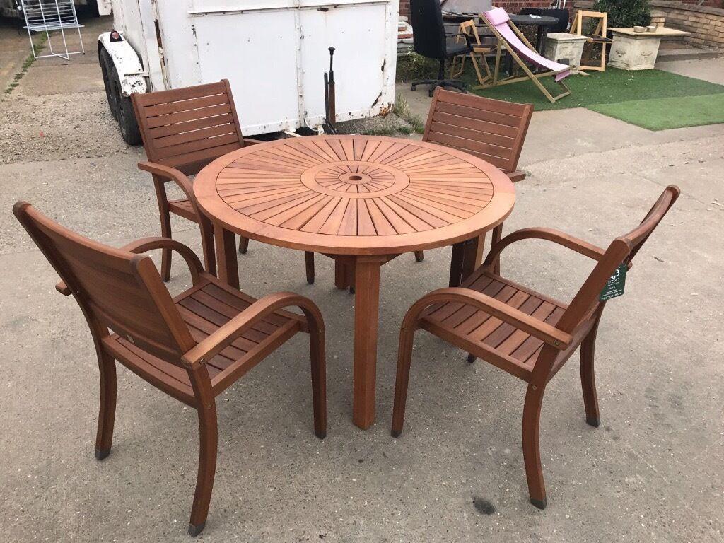Almeria 4 Seater Round Wooden Garden Furniture Set Table Chairs