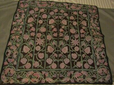 Vintage Scarf Styles -1920s to 1960s Vintage Vera Scarf Brown with Pink & Green floral Polyester Square Japan 21