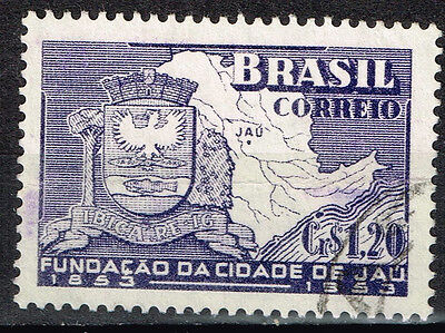 Brazil Jau Coat of Arm and Map stamp 1953