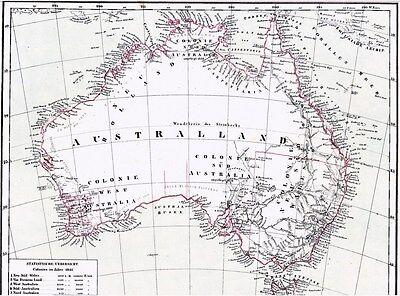 173 Jahre alte Landkarte AUSTRALIEN 1844 Australland & English Colonies in 1841