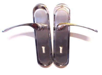 Satin Nickel Backplate (Toulouse Back Plate Lever Lock Door Handles x2,Chrome/Satin Nickel,BNIB,BD(L))