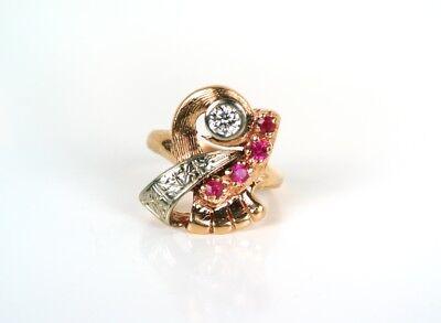 Vintage Art Deco 14K Rose Gold Diamond Ruby Ring * GAL Appraisal *Gift Box