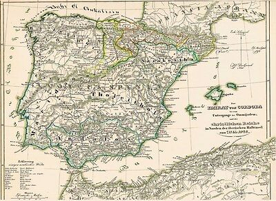 172 Jahre alte Landkarte SPANIEN Emirat von Cordoba Emirato de Córdoba 1846