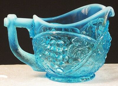 US GLASS #15119 GLASS BLUE OPAL PALM BEACH CREAM PITCHER OPALESCENT