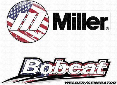 Usa Flag Miller Welder Bobcat - Matte Decal Sticker - Set Of 4 Decals