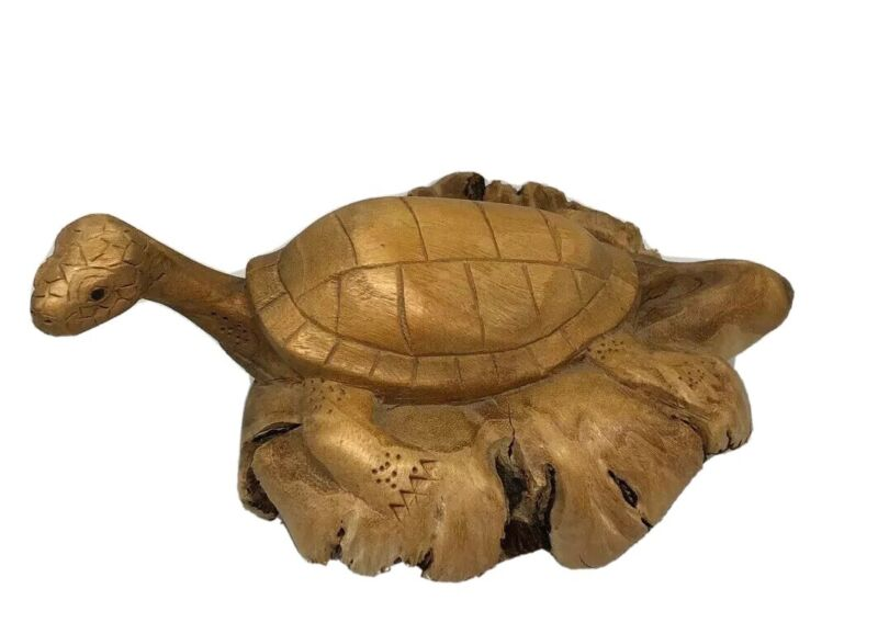 Hand Carved Parasite Wood Carving Art Wooden Sculpture Turtle Tortoise Reptile