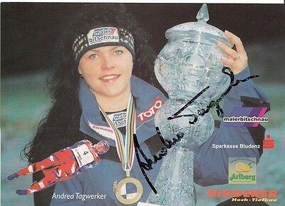 Andrea Tagwerker TOP AK Original Signiert Rodeln +A33298