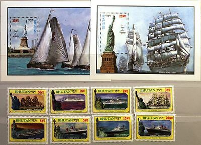 BHUTAN 1986 1005-12 Block 134-35 A 574-583 Freiheitsstatue New York Schiffe Ship