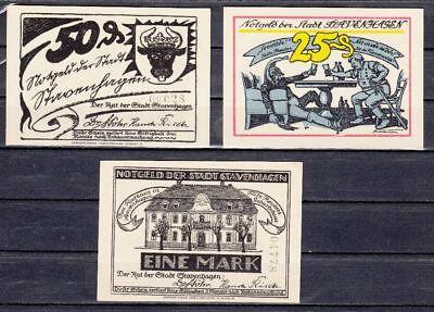 Stavenhagen - 3x Serienscheine, Lindman 1226a2, Mehl 1257.1a, kompl. mit KN