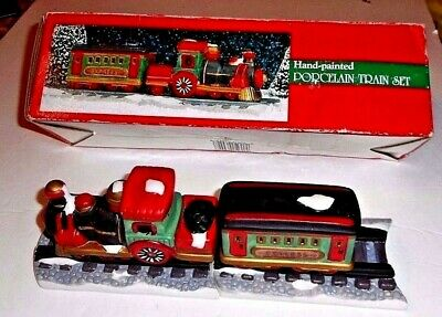 "Christmas Train Set Village Display Train 2 Porcelain Cars 2 Tracks Boxed 3""-4"""