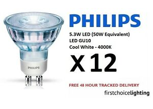 12 x Philips 5.3W (50W) Low Energy GU10 LED Spot Lamps Bulbs Cool White 4000K